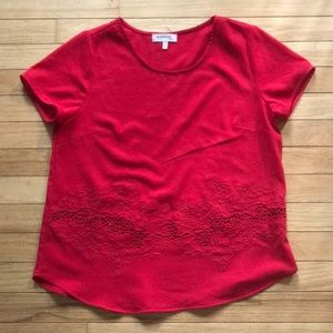 Red Lace Detail Blouse